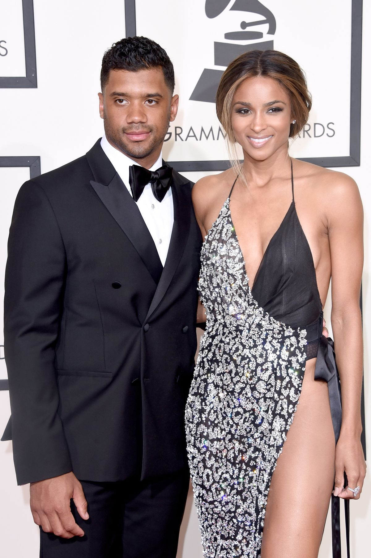 LOS ANGELES, CA - FEBRUARY 15: NFL player Russell Wilson (L) and recording artist Ciara attend The 58th GRAMMY Awards at Staples Center on February 15, 2016 in Los Angeles, California. (Photo by Jason Merritt/Getty Images for NARAS)