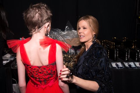 NEW YORK, NY - FEBRUARY 17:  From Make-A-Wish Foundation, Trinity Faith Moran (L) and Mary Alice Stephenson meet backstage at Naeem Khan Fall 2016 during New York Fashion Week: The Shows at The Arc, Skylight at Moynihan Station on February 17, 2016 in New York City.  (Photo by Michael Stewart/Getty Images for NYFW: The Shows)