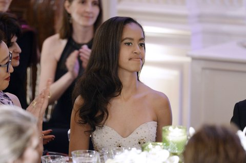 WASHINGTON, DC - MARCH 10: Malia Obama attends a State Dinner at the White House March 10, 2016 in Washington, D.C. Hosted by President and First Lady Obama, the dinner is in honor of Prime Minister Justin Trudeau and First Lady Sophie Gregoire Trudeau of Canada. (Photo by Olivier Douliery-Pool/Getty Images)