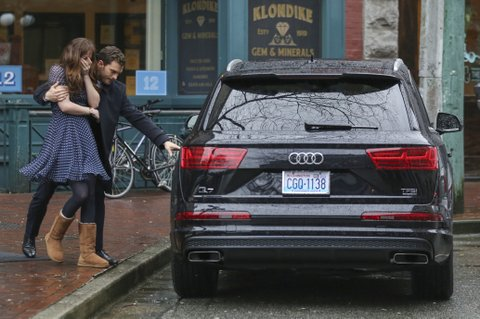 Jamie Dornan and Dakota Johnson film a critical scene where Dakota's character Anastasia Steele is sexually assaulted at work. Running out of the office, a waiting Christian Grey (Dornan) catches a distraught Anastasia, and whisks her away into an SUV. Taylor (Max Martini) who drives Christian Grey, runs into the office to confront the assailant.  Pictured: jamie dornan, dakota johnson Ref: SPL1239145  020316   Picture by: Splash News Splash News and Pictures Los Angeles:	310-821-2666 New York:	212-619-2666 London:	870-934-2666 photodesk@splashnews.com