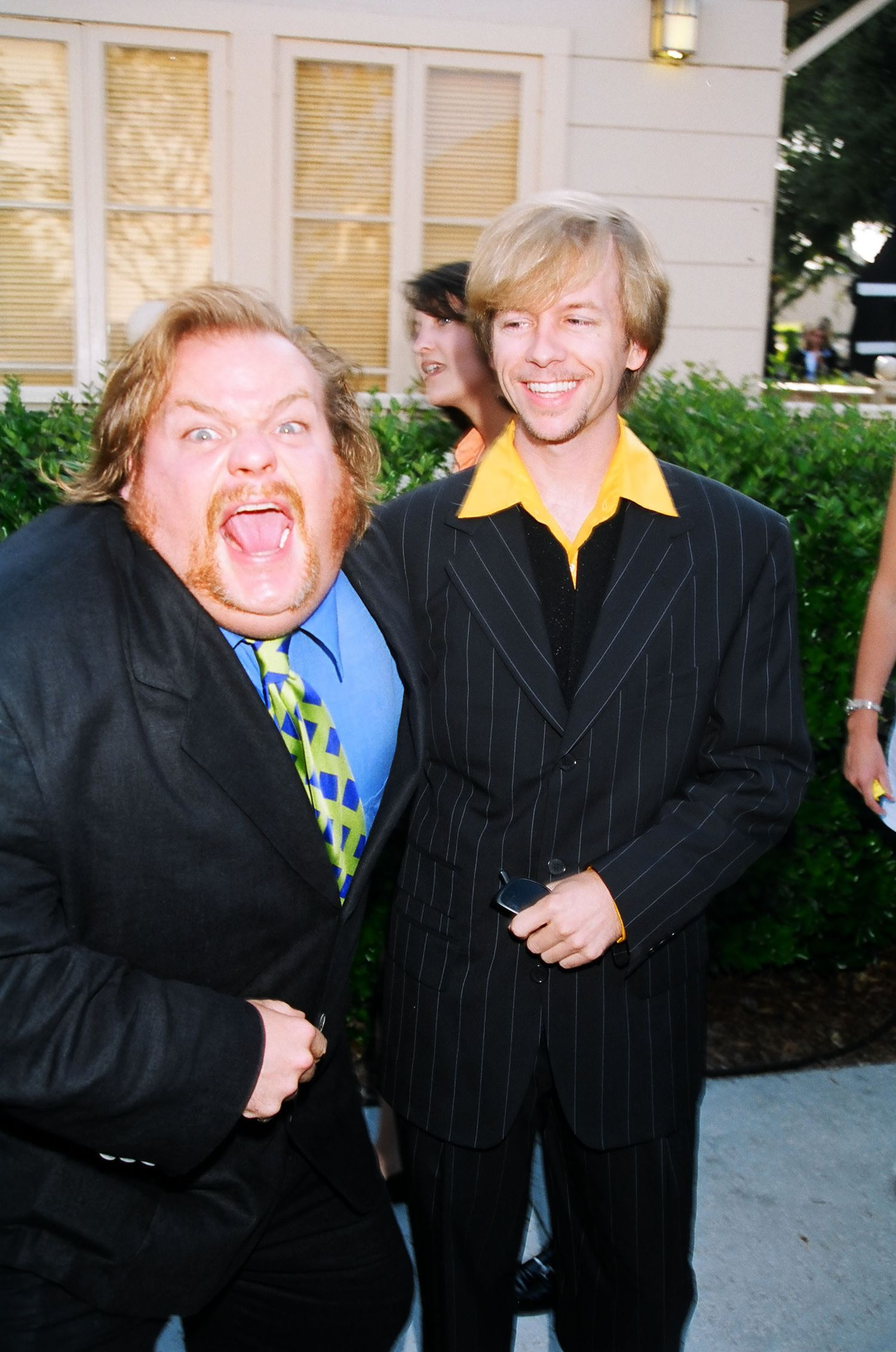 David Spade and Chris Farley during 1996 MTV Movie Awards in Los Angeles, California, United States. (Photo by Jeff Kravitz/FilmMagic, Inc)