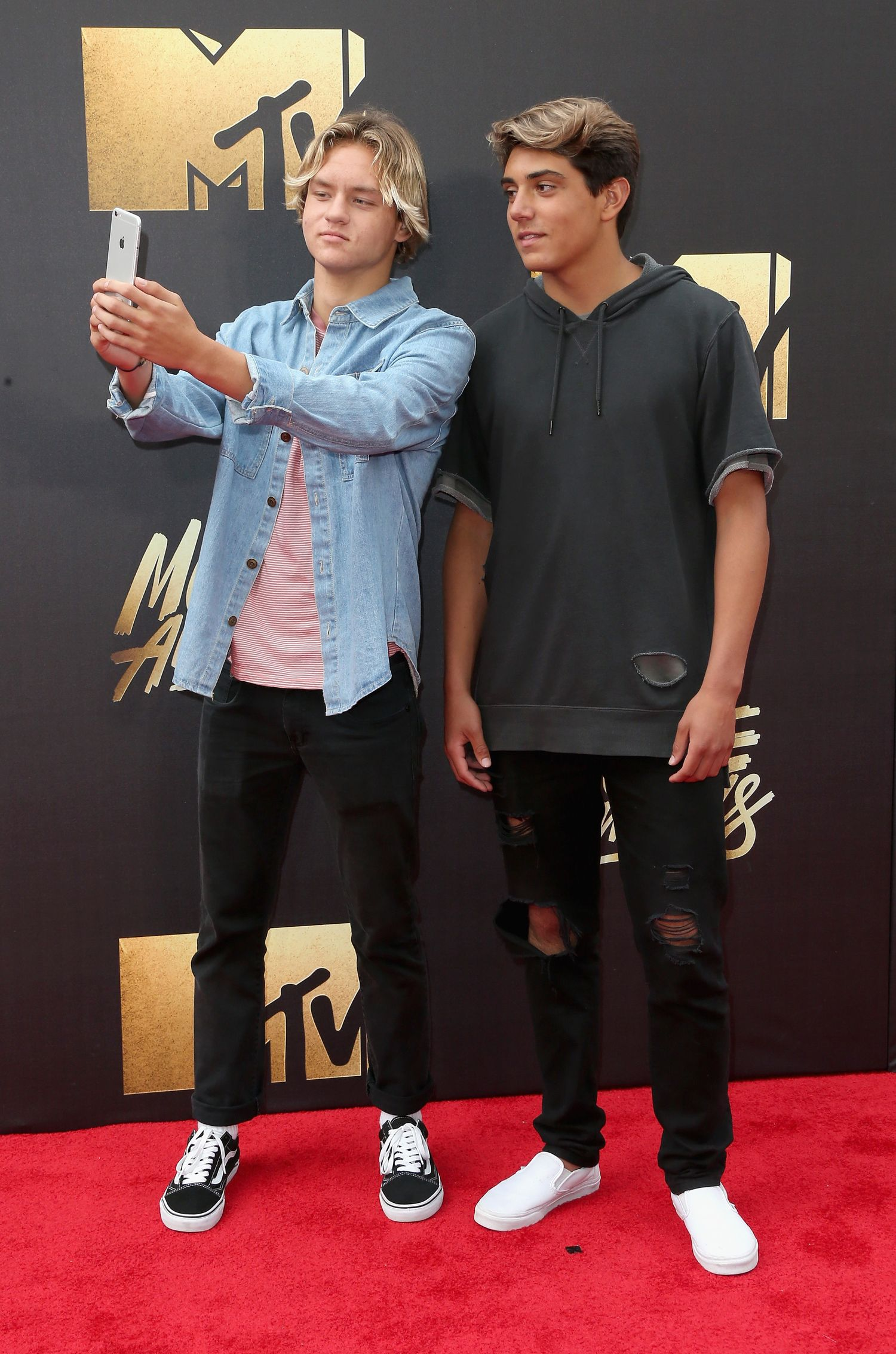 BURBANK, CALIFORNIA - APRIL 09: Internet personalities Joshua Holz (L) and Daniel Lara attend the 2016 MTV Movie Awards at Warner Bros. Studios on April 9, 2016 in Burbank, California. MTV Movie Awards airs April 10, 2016 at 8pm ET/PT. (Photo by Frederick M. Brown/Getty Images)