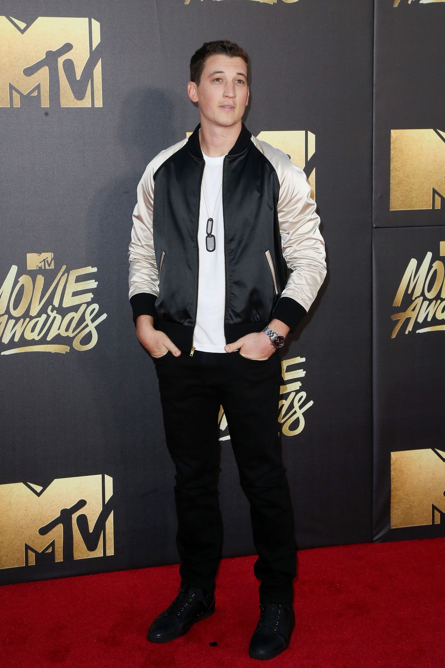 BURBANK, CALIFORNIA - APRIL 09: Actor Miles Teller attends the 2016 MTV Movie Awards at Warner Bros. Studios on April 9, 2016 in Burbank, California. MTV Movie Awards airs April 10, 2016 at 8pm ET/PT. (Photo by Frederick M. Brown/Getty Images)