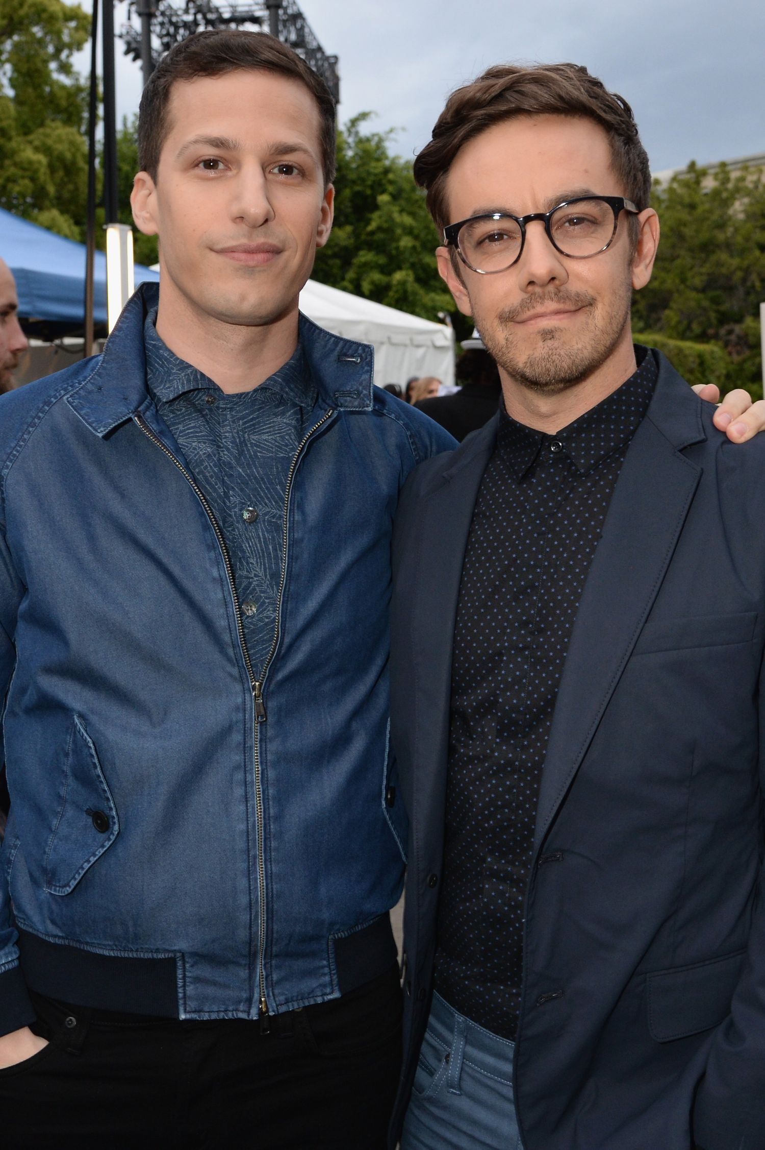 BURBANK, CALIFORNIA - APRIL 09: Actors Andy Samberg (L) and Jorma Taccone attend the 2016 MTV Movie Awards at Warner Bros. Studios on April 9, 2016 in Burbank, California. MTV Movie Awards airs April 10, 2016 at 8pm ET/PT. (Photo by Jeff Kravitz/FilmMagic for MTV)