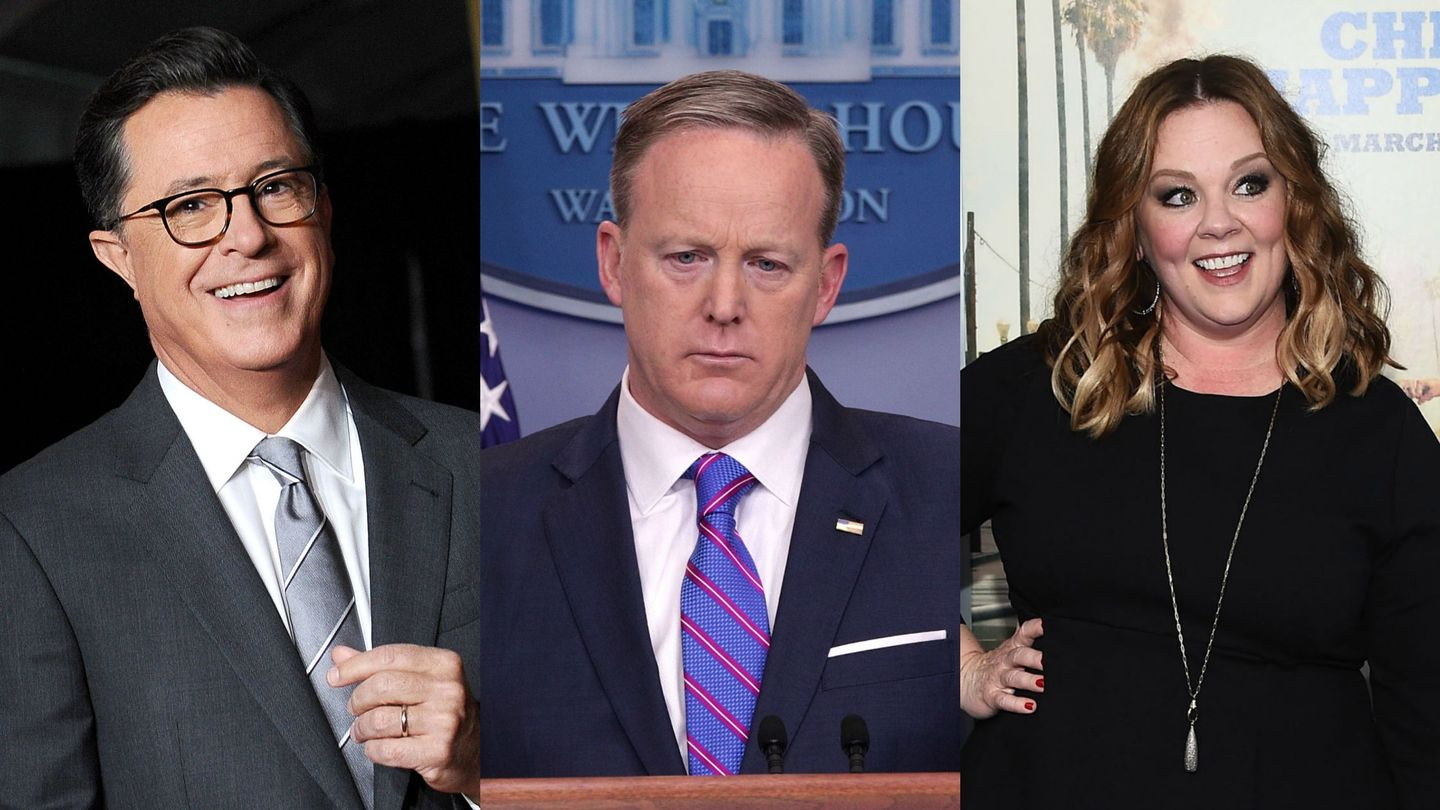 Stephen Colbert Shocked Melissa McCarthy (And Everyone Else) With Sean Spicer's Emmy Cameo