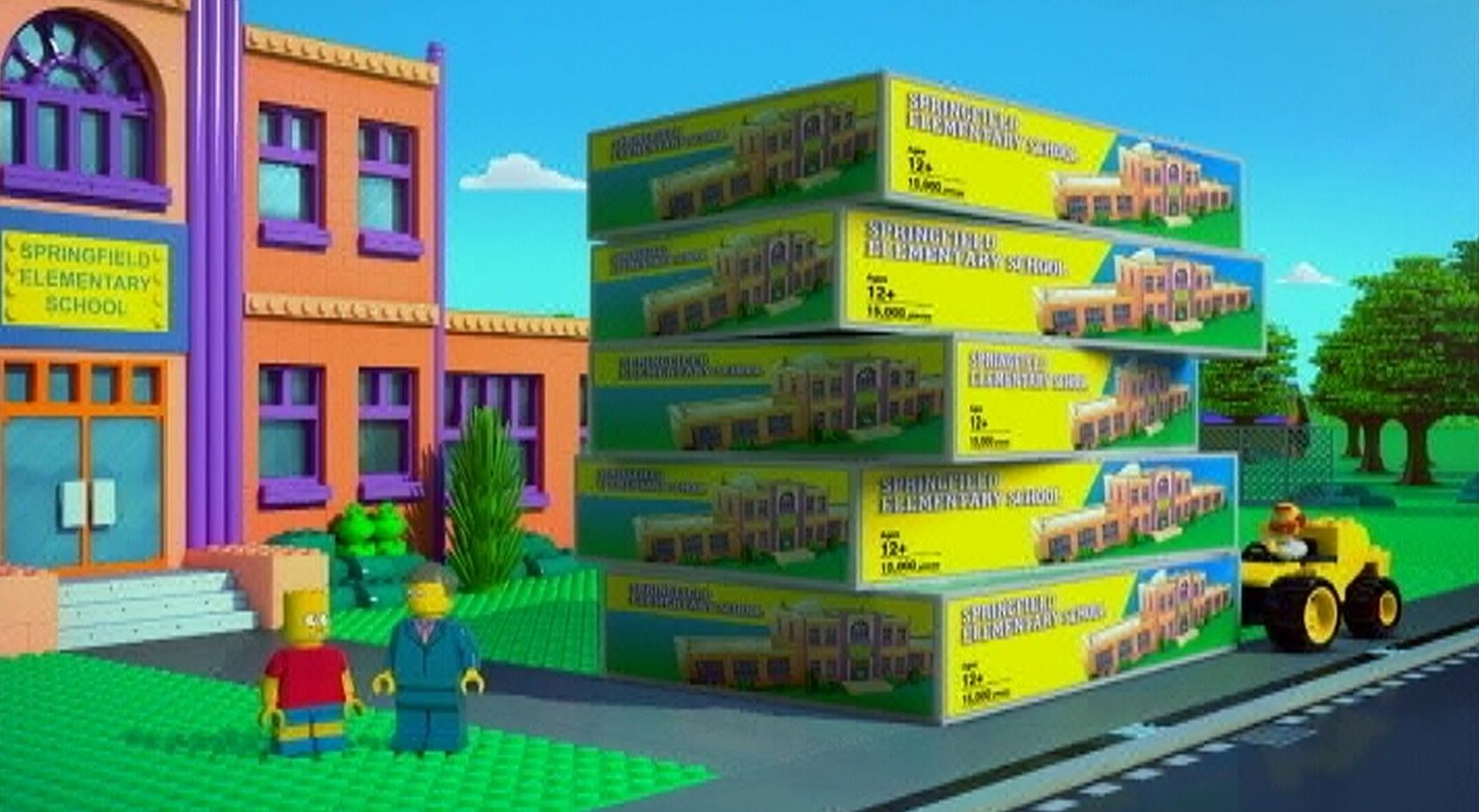 Marvelous  Skinner has a ton of schools for Bart to build because he always gets the same set for his birthday